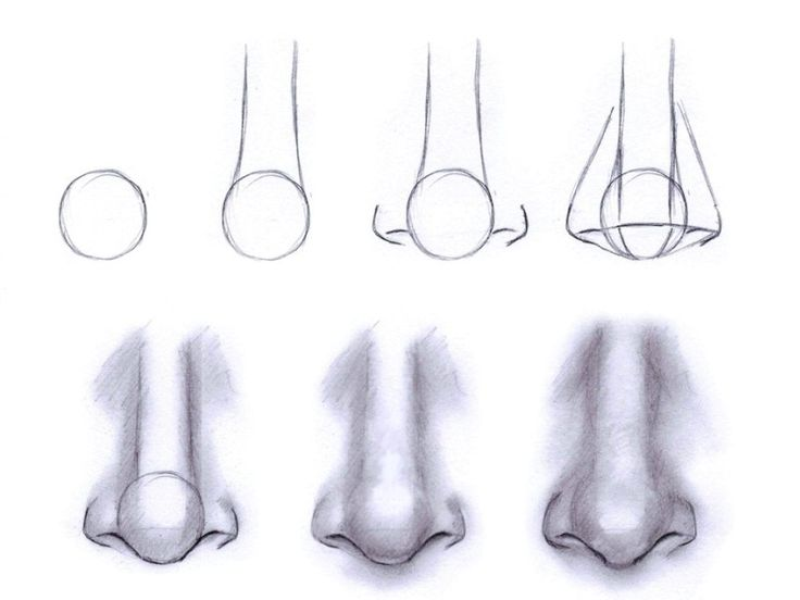 How to draw a nose. This is how I was taught in college! (Every body part is simply a line or shape)