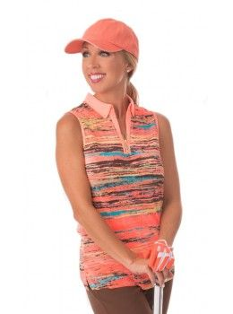 Jamie Sadock Radiance Women's Sleeveless Striped Crinkle Golf Shirt -Radiance Coral  Jamie Sadock Radiance Group- Fall Collection for Golf - Ladies Golf Apparel - Golf Outfits- Coral and Brown- Jamie Sadock Womens Golf - Golf Shirts- Golf Pants - on and off the course fashion - ladies new arrivals
