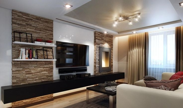 Natursteinwand Verblendsteine im Wohnzimmer und schwarzer Lowboard