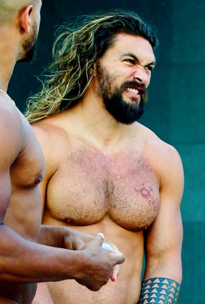 Jason Momoa oh Yes with a chest that measures more than 48 inches and get into those pectorals.
