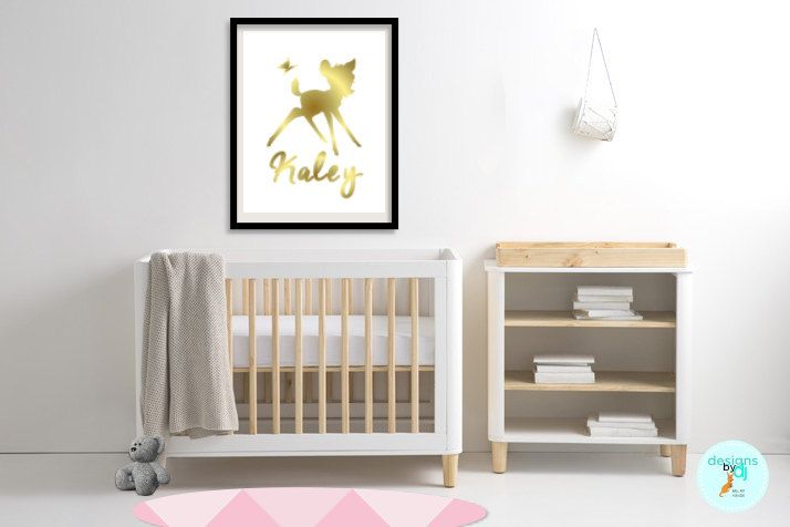 Girls Gold Bambi Name Print Bedroom Decor Personalised Wall Art, Bambi Prints, Gold, A5 A4 A3 by DesignsByDjKidsArt on Etsy