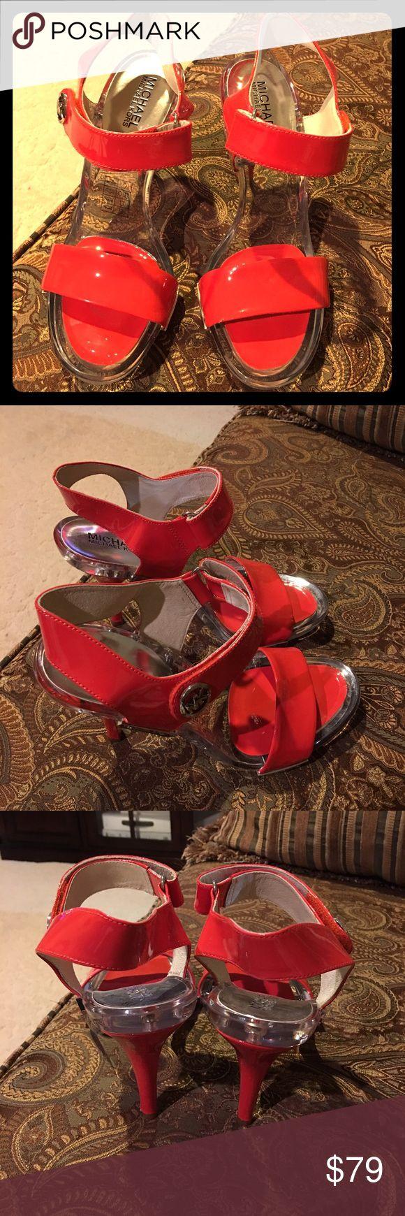 Michael Kors. Red. 4 inch heels. Velcro closure. Michael Kors. 4 inch heel. Red orange. Great condition. Velcro closure.No trade.no PayPal. Michael Kors Shoes Heels