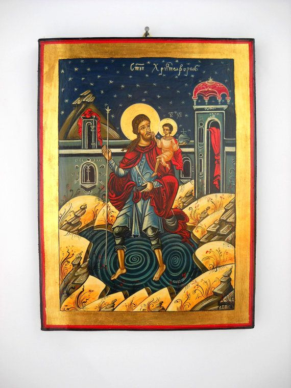 Saint Christopher and the Christ Child Romanian by DeniseClemenco, $450.00
