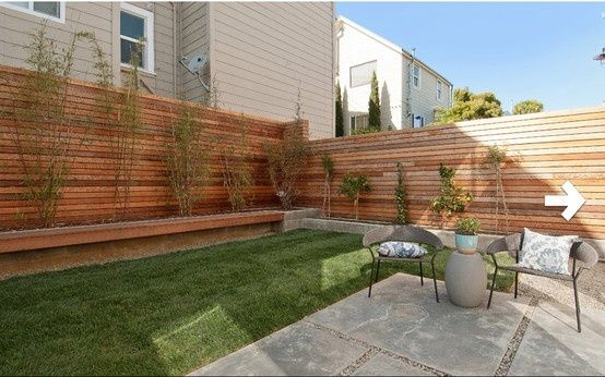 modern backyard with fence