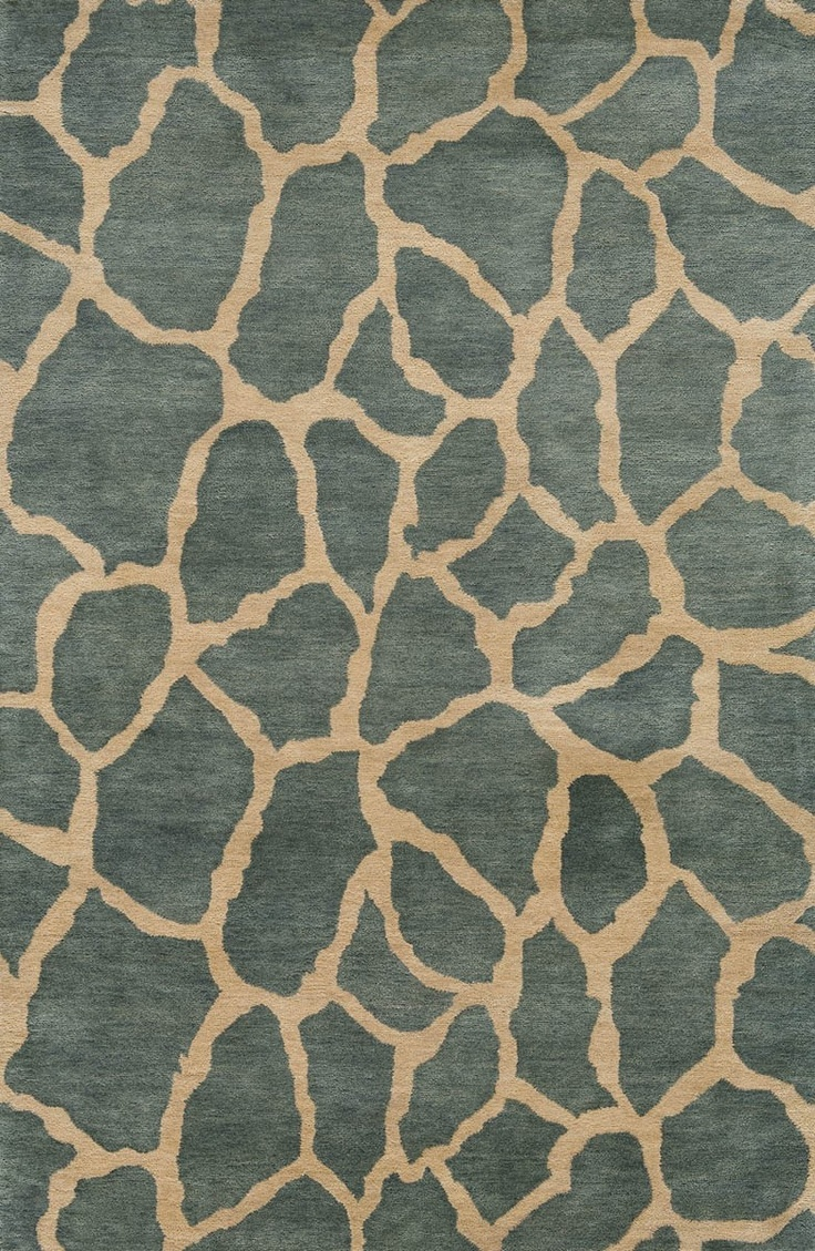 Momeni Rugs-Serengeti Collection-SG-04-B Teal Animal Prints Area Rug