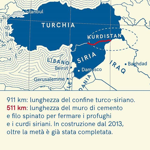 Il muro turco è formato da blocchi di cemento 2x3m di altezza. Source: Ansa 27/02/2017, La Stampa 10/03/2017  911 km: the length of the border between Turkey and Syria 511 km: the turkish wall of cement and barbed wire built for stopping the asylum seekers and the Kurdi population of Syria. Already finished for more than the 50%. The wall is made by blocks of 2x 3 meters of height.  _ #refugee #vademecum #guidavademecum #infographic #infodesign #instanews #graphicdesign #migration #refworld…