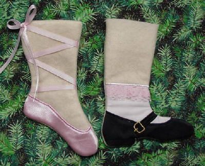 Christmas Stockings in shapes of ballet slipper, tap shoe, or other mary jane shoe