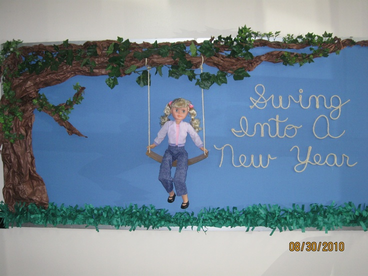 Back to school bulletin board I did a couple of years ago. The tree was 3-dimensional using brown bulletin board paper twisted and then used some greenery I had over my cabinets in the library. I bought a cheap doll and then used some rope and scrap piece of laminate floor for the swing. It turned out nice.