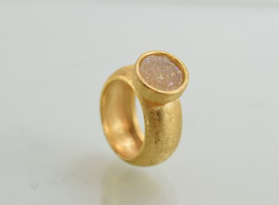 Gold ring Wide ring statement ring Very by AgataLovemade on Etsy