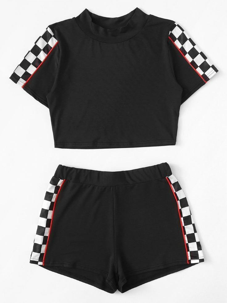Contrast Trim Gingham Panel Top With Shorts
