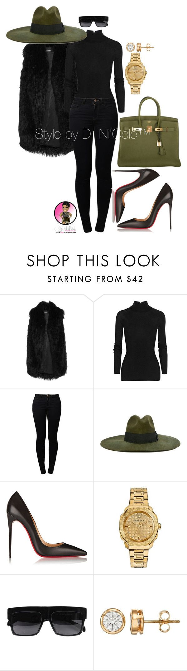 """Untitled #2939"" by stylebydnicole ❤ liked on Polyvore featuring DKNY, T By Alexander Wang, Noisy May, Diesel, Christian Louboutin, Hermès and Versace"