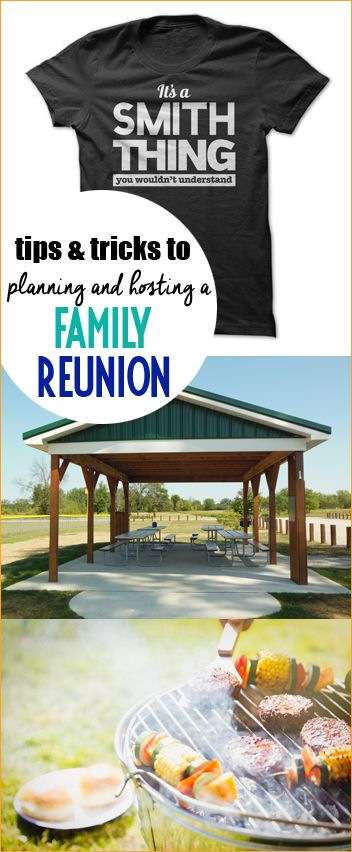 Tips and Tricks to Planning and Hosting a Family Reunion.  Fun family reunion themes, shirts and food ideas.