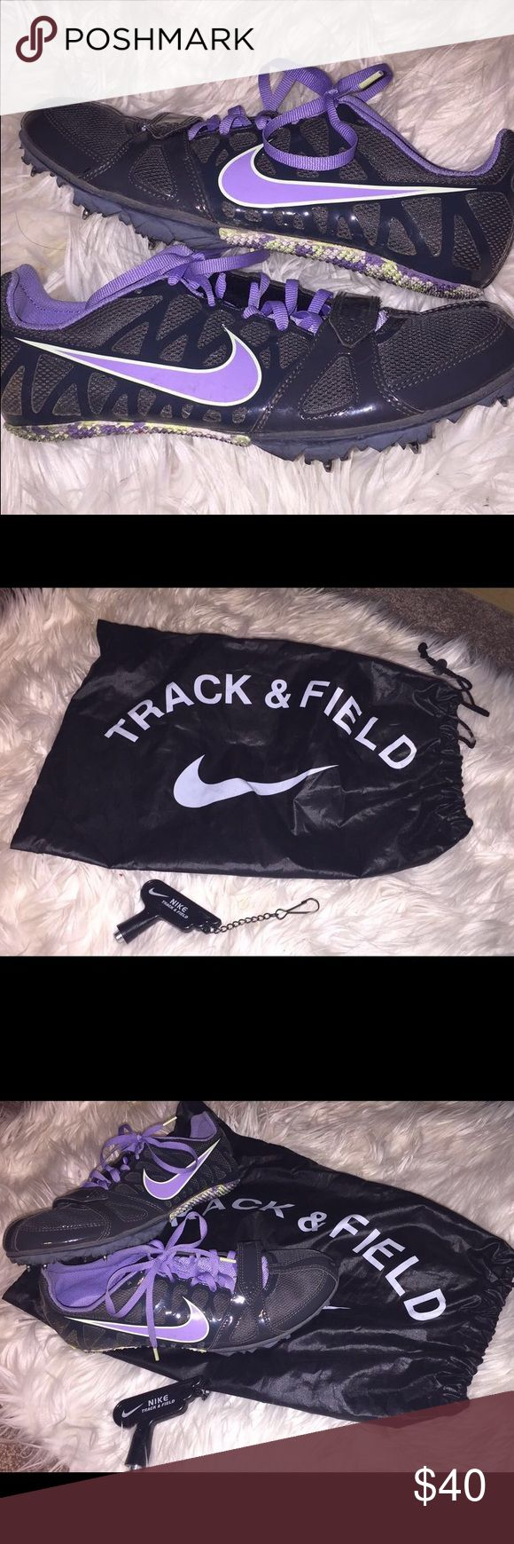 Nike spikes, spoke wrench, Nike track & field bag These Nike spikes were used for one track season in only a couple different events. They are super light weight and still look brand new. All spikes are included. Spoke wrench for removing spikes is also included along with the Nike track & field bag. Selling for best offering price! Nike Shoes Athletic Shoes