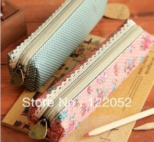 Free shipping mall fresh and elegant beauty, Mori women wind Slim slender Polka Dot Floral Pencil Case pencil box $4.32