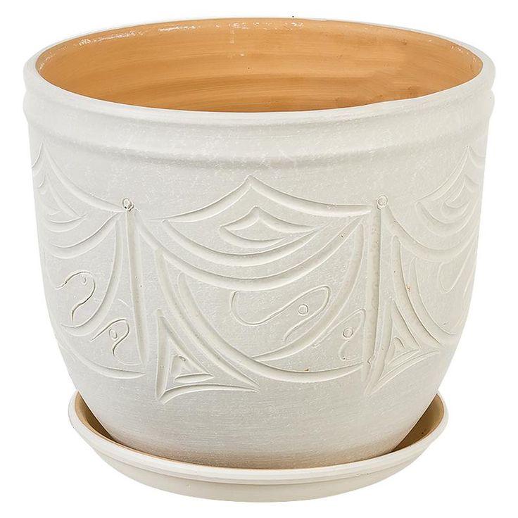 Горшок керамический с поддоном Узоры, диаметр 24,5 см, 7,9 л, цвет бежевый