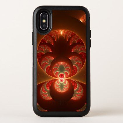Luminous abstract modern orange red Fractal iPhone X Case - diy cyo customize create your own personalize