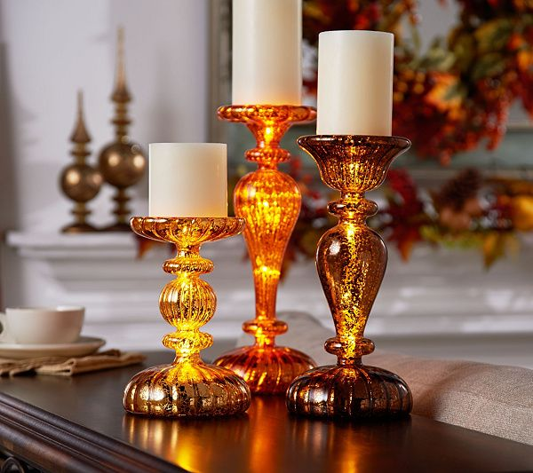 Effortless elegance. Done in varying heights and designs, each of these mercury glass pedestals from Valerie Parr Hill looks lovely as it lights up. QVC.com