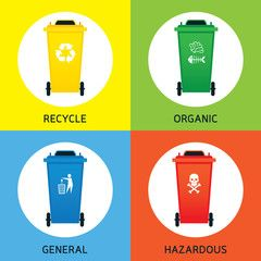 Waste or Garbage Bin, Separation Types, Segregation, Management, Objects with…