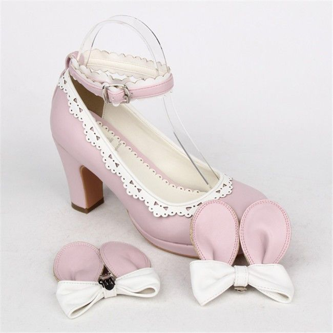 Angelic Imprint- Sweet Lolita Square Heels Shoes with Detachable Bow & Ears