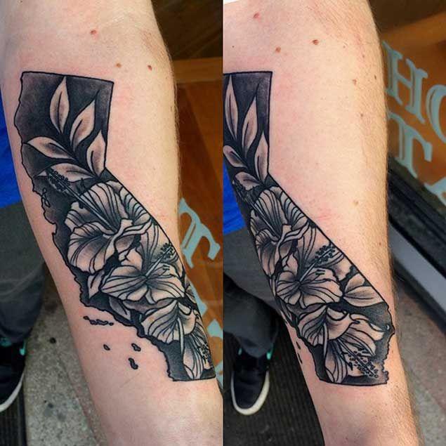 Floral California State Tattoo