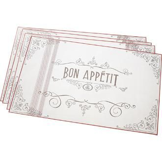 """Bon Appétit Placemat Pad by Wildly Delicious. These beautiful placemats give you 50 opportunities for everyday entertaining. Perfect for any event too! Food Safe. Soy based inks & 30% recycled content. 12.5"""" X 19"""" Proudly Designed in Canada. #961134 $19.99 www.lambertpaint.com"""
