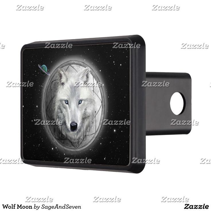 Wolf Moon Trailer Hitch Cover #wolf #whitewolf #fullmoon #dreamcatcher #wolfmoon #zazzle