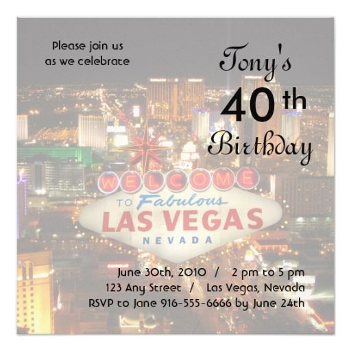 17 Best Images About Las Vegas Birthday Party Invitations On Pinterest
