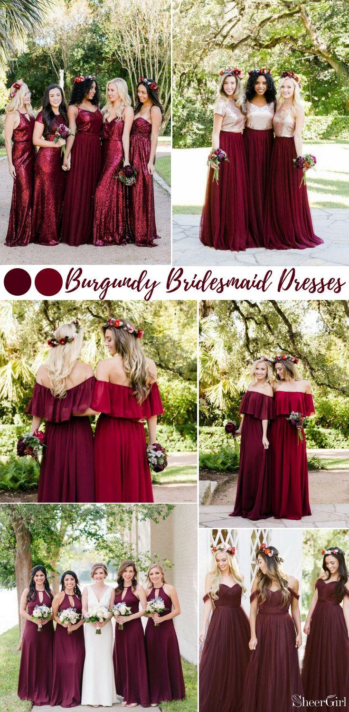 burgundy bridesmaid dresses, mismatched bridesmaid dresses ...