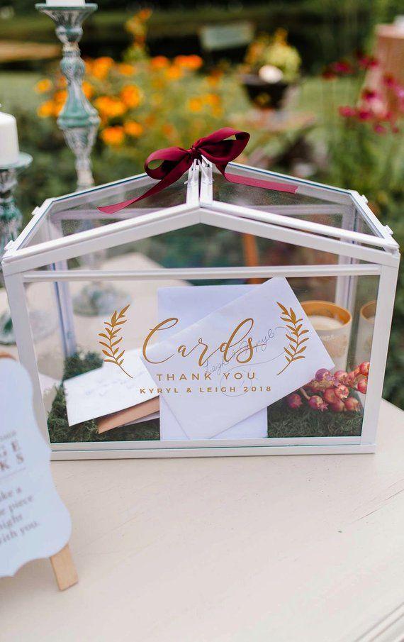 Custom Card Box Vinyl Decal For Wedding Gold Card Box Decal Card