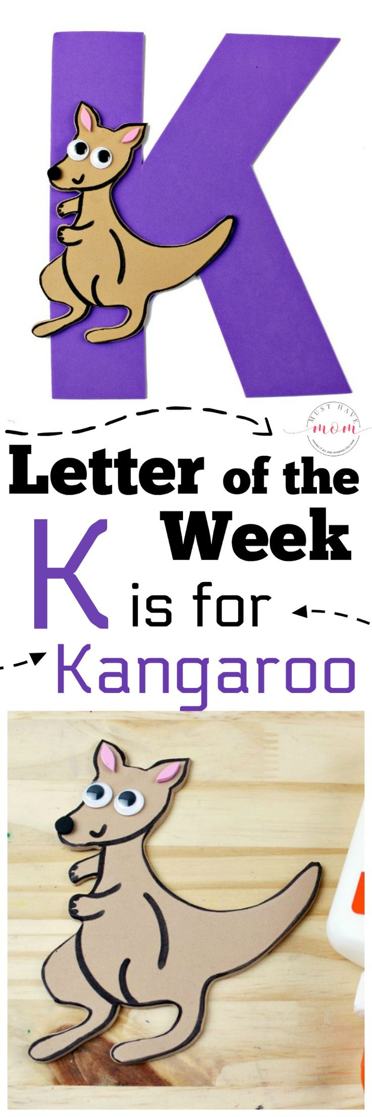 Weekly letter craft ideas! K is for kangaroo kids craft to learn letter recognition! via @musthavemom