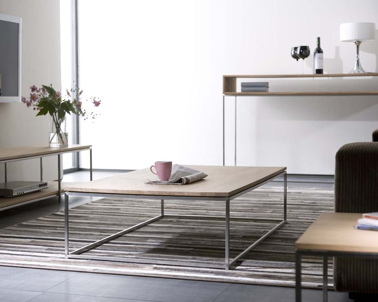 LOUNGE Ethnicraft© - Oak Thin coffee table - stainless steel frame