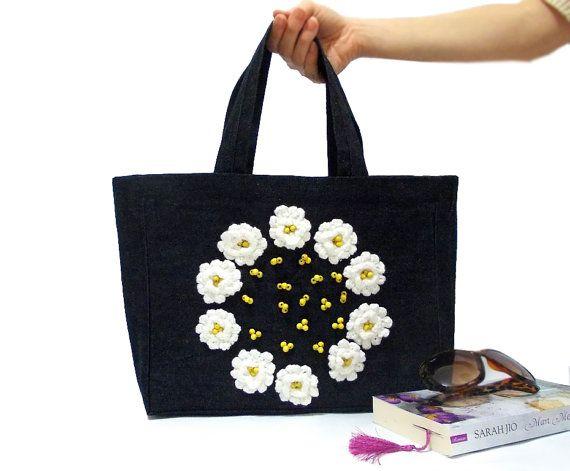 Denim Tote Bag ON SALE Crochet flowers Tote Bag Navy by aynikki, $45.00