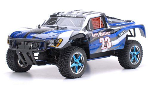 Back in stock 1/10 2.4Ghz Exceed RC Rally Monster Nitro Gas Powered RTR Off Road Rally Car 4WD Truck Stripe Blue ***REQUIRED TO RUN and SOLD SEPARATELY: STARTER KIT ***