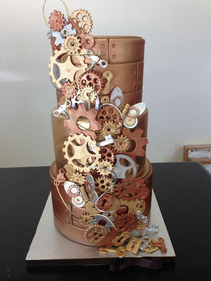 "Wonderful ""Steam Punk"" themed wedding cake with cascade of hand crafted fondant gears, locks, keys, and clocks!"