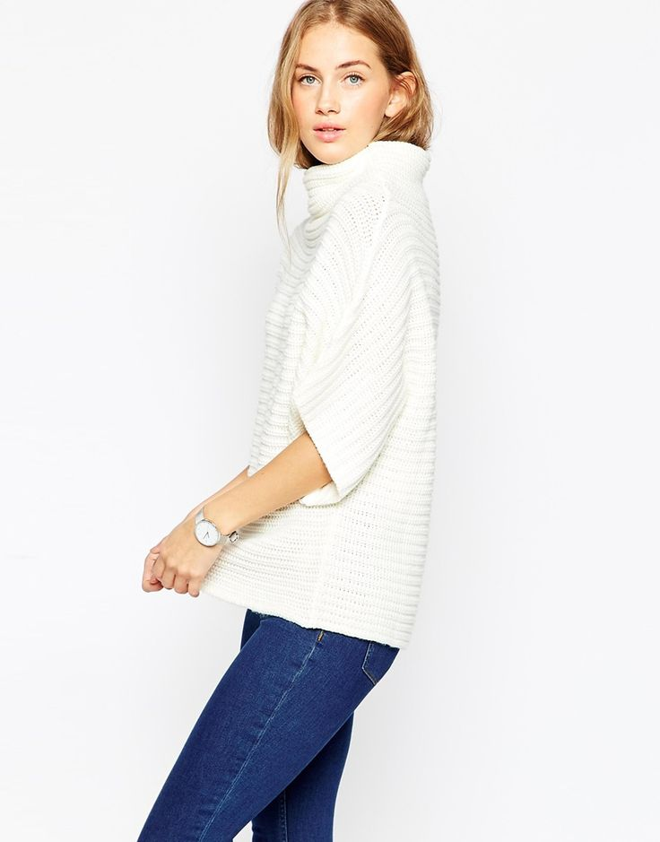 Image 1 ofASOS Cape In Horizontal Rib With Grown On Neck