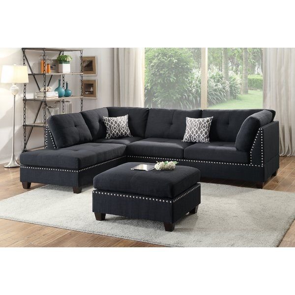 Milani Reversible Sectional With Ottoman Fabric Sectional Sofas