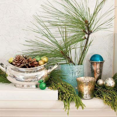 Use Indigenous Accents. Decorate with pinecones and pinetree branches. // southernliving: