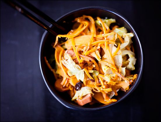 Quick Healthy Asian-Inspired Vegan Stir fry Bowl with Shredded Sweet Potato and Cabbage