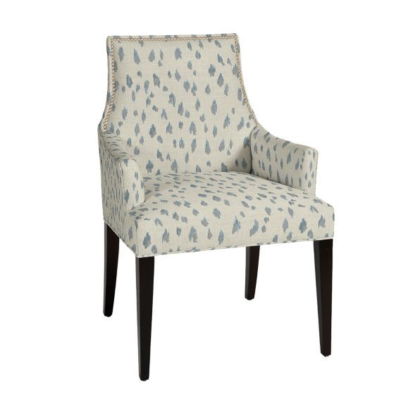 "The Mia Arm Chair's  $750 less 25% (18"" between arms) sophisticated Empire silhouette tacked pewter nailhead trim. Hardwood frame is crafted using tongue-and-groove joinery and expertly"
