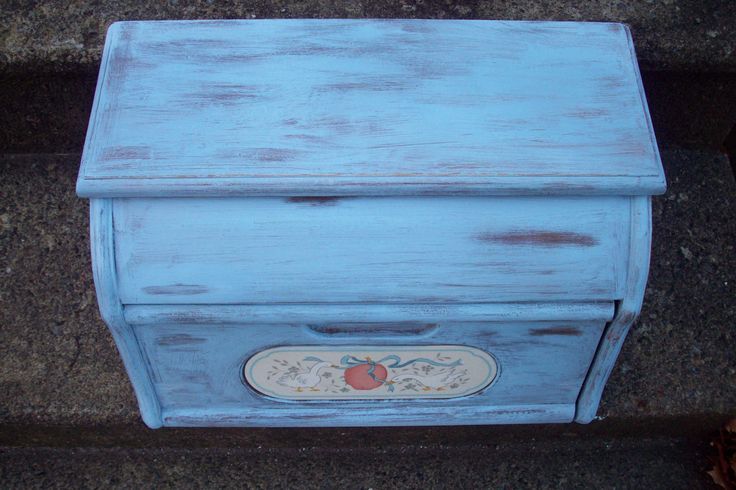 Vintage Wooden Bread Box hand painted Annie Sloan Louis Blue, French Blue Country Kitchen Storage decor, Good Wood Co. Geese design by UpcycledCottageDecor on Etsy