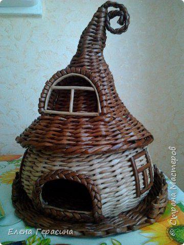 Поделка изделие Плетение Чайный домик Бумага газетная фото 1