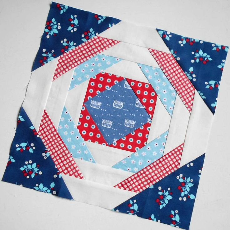 """Block 70 - Pineapple Patch.  I paper-pieced this 12"""" block and it was fun to play with such big pieces of fabric."""
