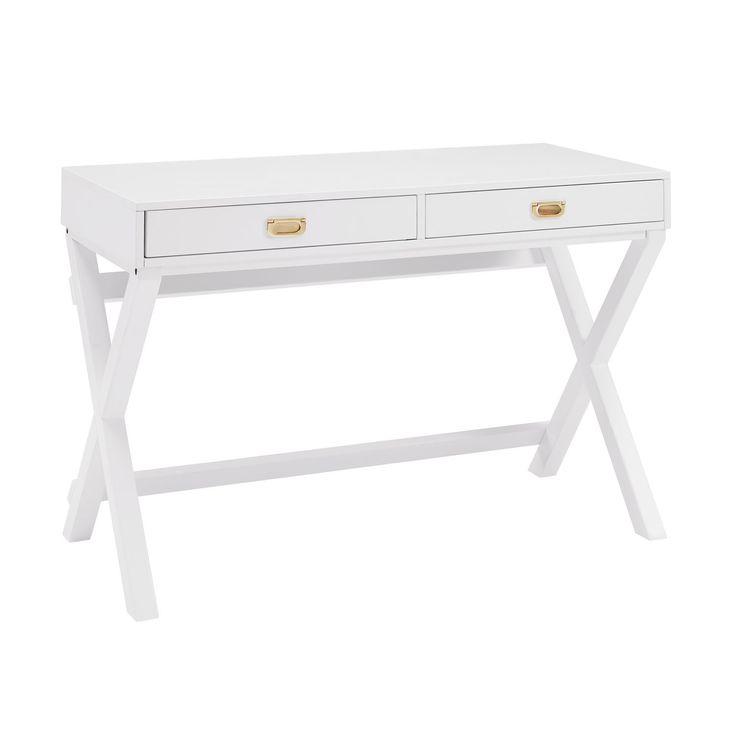 Linon Poppy White Writing Desk, Size Large