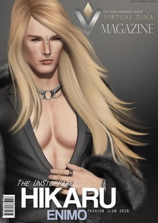 VIRTUAL DIVA MAGAZINE DECEMBER  The 1 year Anniversary of Virtual Diva Magazine is here!! We are proud to kick this issue off with our Cover Fashion Icon of 2016, and unstoppable Hikaru Enimo. We are very honored to hear his story. His very exciting interview is sure to have all our readers on the edge of their seats, as he speaks of his success and so much more. Also we welcome our 2 Inside Vision Artists, Photographers LezzthanZero and Leah. They will be talking about their inspirations…
