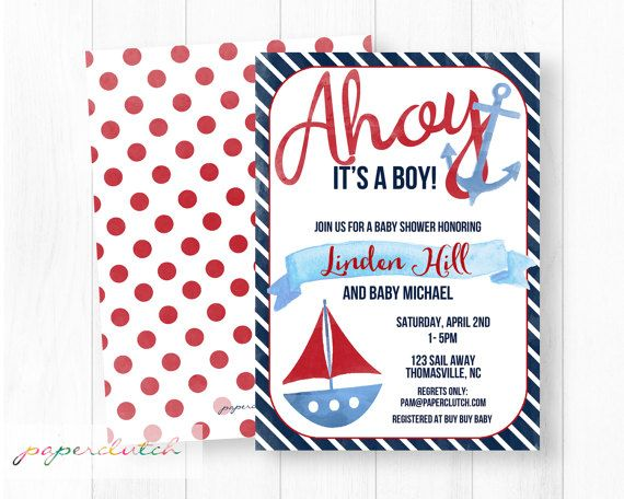 Ahoy it's A Boy Nautical Baby Shower Invitation by PaperclutchShop