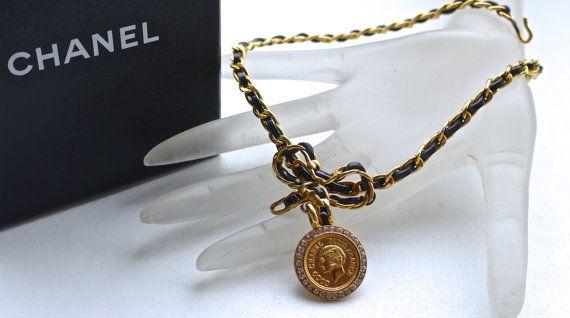 Vintage Chanel Coco Medallion Rhinestone Bow Choker Necklace