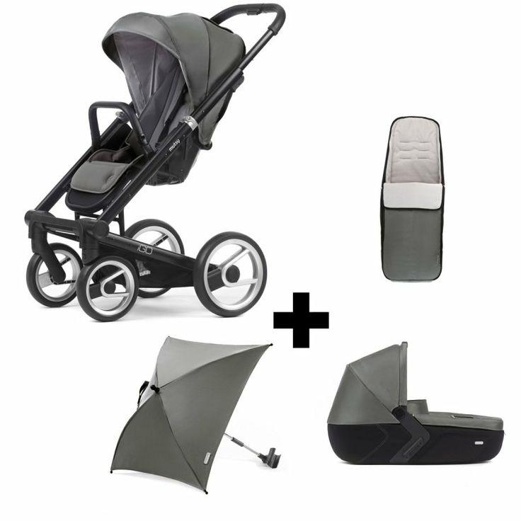Mutsy iGO All-Inclusive-Set m. Babywanne, Fußsack u. Sonnenschirm Gestell Schwarz Farbe Lite Grey  | online kaufen bei kids-comfort.de  #mutsy #igo #mutsyigo #pram #stroller #kinderwagen #sportwagen #kidscomfort