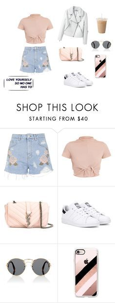 """1-14"" by cbbh on Polyvore featuring moda, Topshop, Yves Saint Laurent, adidas Originals, Prada e Casetify"