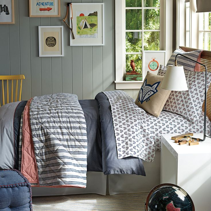 Burke Bedroom featuring the Burke Duvet, Fox Sheet Set, and Railroad Stripe Quilt & Sham from Serena & Lily