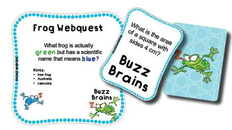 Going on a froggie webquest - teaching explicit internet searching skills. A bonus activity within the Buzz Brains Area and Perimeter resource by Project Nature-Ed.
